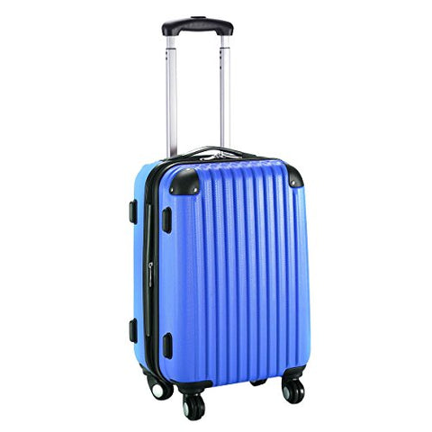 "GHP 15.2""x10.4""x22.4"" Navy Scratch-resistant Lightweight & Durable Trolley Suitcase"