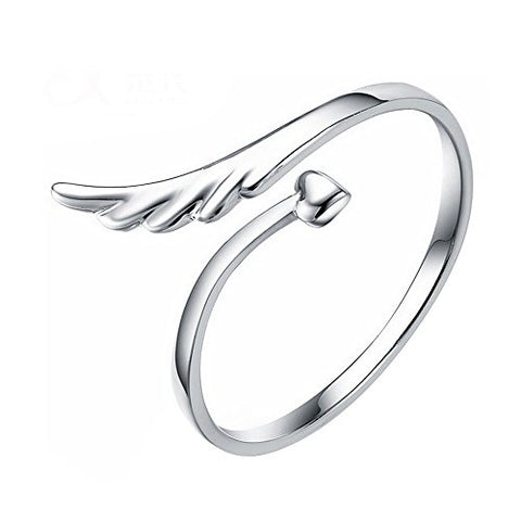 Acxico Silvery Heart Shape and Angel Wing Adjustable Ring