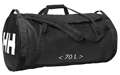 Helly Hansen Duffel 2 Water Resistant Packable Bag with Optional Backpack Straps, 70-liter (Meduim), 990 Black