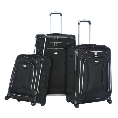 Olympia Luggage Luxe 3 Pack Set, Black, One Size