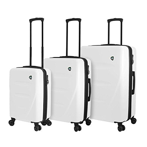 Mia Toro M1304-03pc-Wht Italy Fassa Hardside Spinner Luggage 3 Piece Set, White