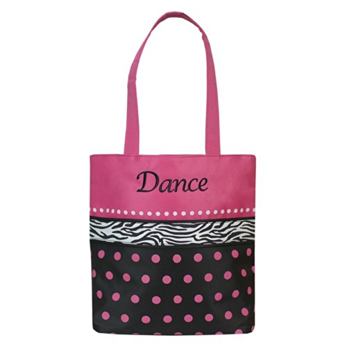 Sassi Black Pink Dots Zebra Ribbon Embroidered Dance Tote