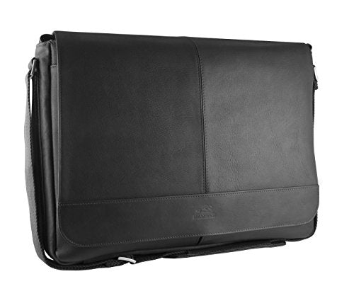 "Mancini Leather Goods Inc Unisex Supple Drum Dyed Colombian Leather 15.6"" Laptop/Tablet Messenger Bag with RFID Secure Pocket 17.25"" x 3"" x 12"" Black"