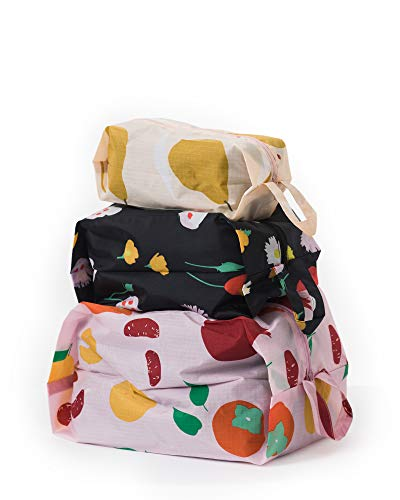 BAGGU 3D Zip Bag, Great for Travel and Everyday Use, Flora