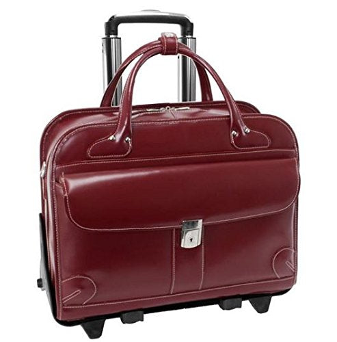 McKleinUSA LAKEWOOD 96616 Red Leather Fly-Through Checkpoint-Friendly Detachable-Wheeled Ladies' Briefcase