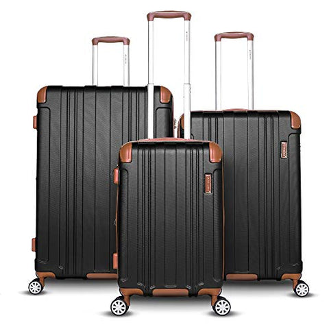 Gabbiano Bravo Collection 3 Piece Hardside Spinner Luggage Set (Black)
