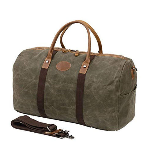 Berchirly Waterproof Oversized Canvas Genuine Leather Trim Travel Totes Duffel Shoulder Handbag
