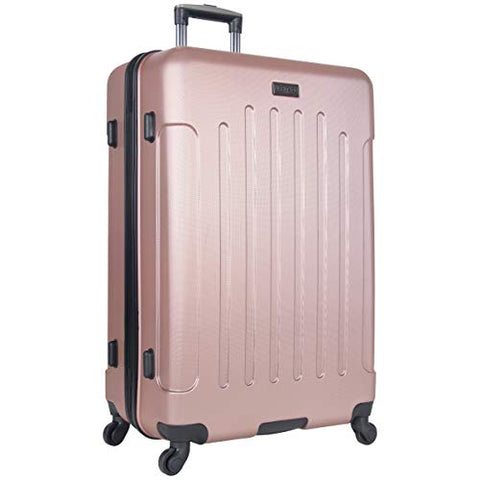 "Heritage Travelware Lincoln Park 29"" Lightweight Hardside 4-Wheel Spinner Checked Luggage, Metallic Rose Gold"