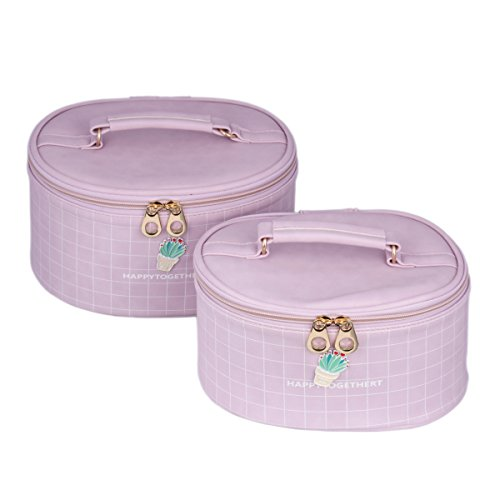 Damara Women's Makeup Travelling Cosmetic Box PU Double Storage Case,Purple