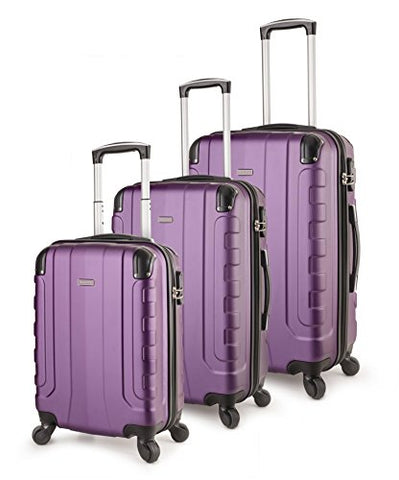 Travelcross Chicago Luggage 3 Piece Lightweight Spinner Set (Purple)