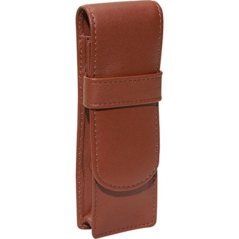 Royce Leather Genuine Leather Double Pen Case Holder (Tan)