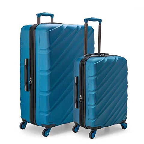 U.S. Traveler Gilmore 2 Piece Expandable Hardside Spinner Luggage Set (Blue)