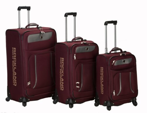 Rockland Luggage Navigator Spinner Polo Equipment 3 Piece Luggage Set, Burgundy, One Size
