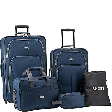Elite Luggage Whitfield 5 Piece Softside Lightweight Rolling Luggage Set (Navy)