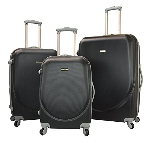 "TPRC 3 Piece ""Barnet Collection"" Hardside Expandable Spinner Luggage Set, Black Color Option"
