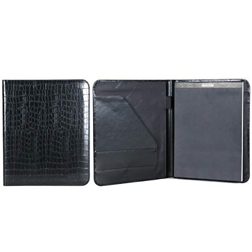 Kenneth Cole Reaction Faux Croco Leather Standard Bifold Writing Pad, Black