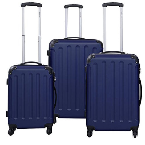 Dark Blue 3 Pcs Luggage Travel Set Bag ABS+PC Trolley Suitcase