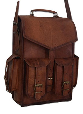 Vintage Brown School Bag Leather Backpack Laptop Messenger Bag Rucksack Sling For Men Women