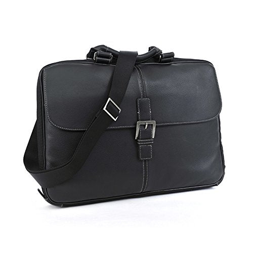 "Boconi Bags and Leather Tyler - Tumbled 15"" Portfolio Brief Messenger Bag Black Leather"
