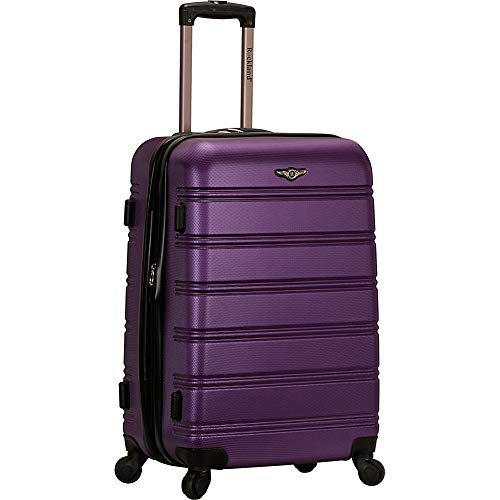 "Rockland Luggage 24"" Expandable Hardside Checked Spinner Luggage (Purple)"