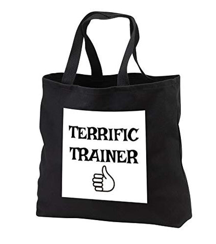 Carrie Merchant 3drose quote - Image of Terrific Trainer - Tote Bags - Black Tote Bag JUMBO 20w x