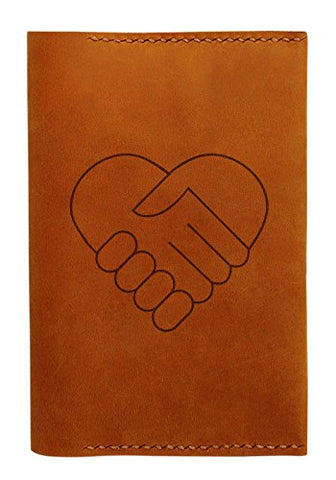 Handshake Heart Handmade Genuine Leather Passport Holder Case Hlt_01
