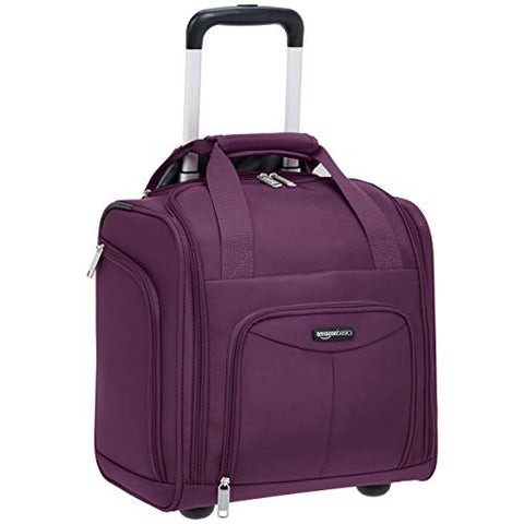 AmazonBasics Underseat Carry-On Rolling Travel Luggage Bag - Purple