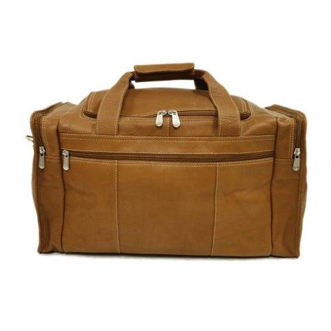 Piel Leather Travel Duffel With Side Pockets, Saddle, One Size