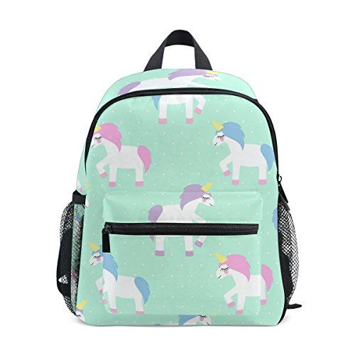 GIOVANIOR Cute Cartoon Unicorn Mint Green Polka Dots Travel School Backpack for Boys Girls Kids