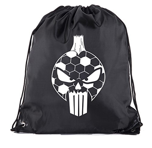 Soccer Party Favors | Soccer Drawstring Backpacks for Birthday Parties, Team events, and much more! - 6PK Black CA2500SOCCER S6