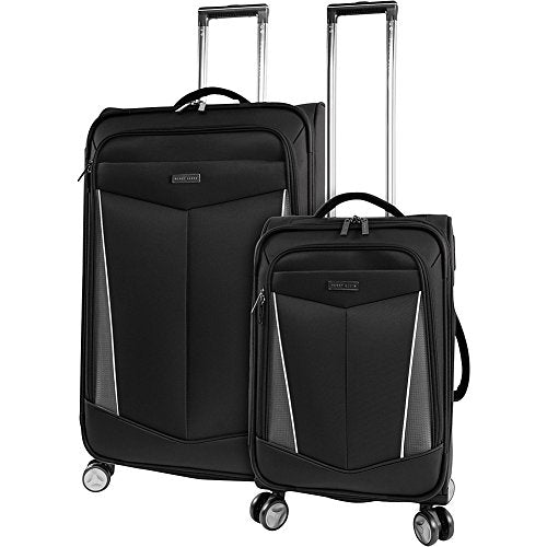 Perry Ellis Luggage Glenwood 2 Piece Set Expandable Suitcase with Spinner Wheels, Black