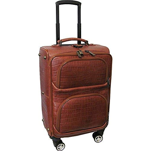 "AmeriLeather Croco-Print 24"" Spinner Carry-On Luggage (Brown Croco-Print)"