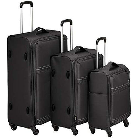 "AmazonBasics Lightweight Softside Spinner - 3-Piece Set (22"", 27"", 32""), Black"