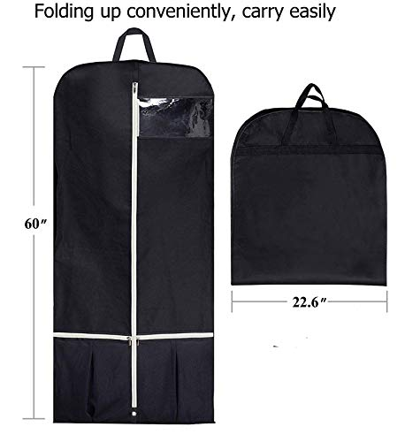 39466dd733fe Sleeping Lamb Breathable 60 Dress Garment Bag with Zipper Shoe Pockets  Trifold Hanging Clothes Storage Bags Cover for Long Dresses, Wedding Gown,  ...