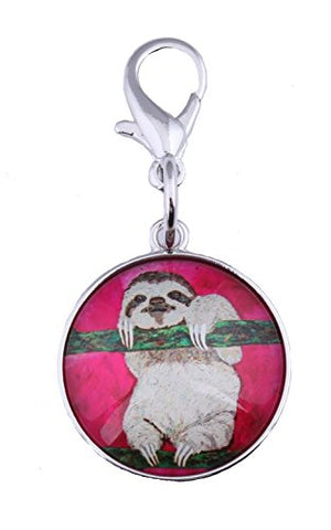Sloth Zipper Pull Charm, Bag Charm With Lobster Claw Clasp - Animal (Sloth -Leisurely Life)
