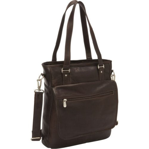 Piel Leather Laptop/Tablet Carry-All Tote, Chocolate
