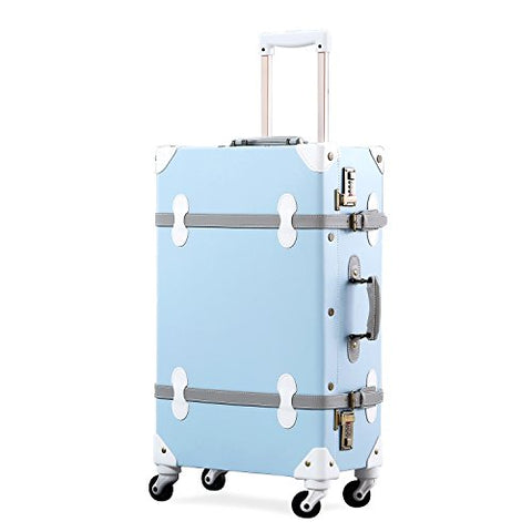 Unitravel Vintage Suitcase Hard Shell Rolling Carry On Luggage Trolley Retro Trunk