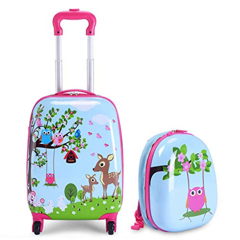 "Goplus 2Pc 12"" 16"" Kids Carry On Luggage Set Upright Hard Side Hard Shell Suitcase Travel Trolley ABS (Deer & Birds)"