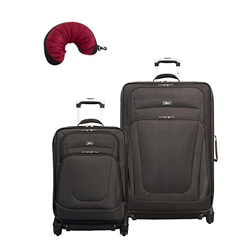 "Skyway Epic | 3-Piece Set | 20"" and 28"" Expandable Spinners, Travel Pillow (Black)"