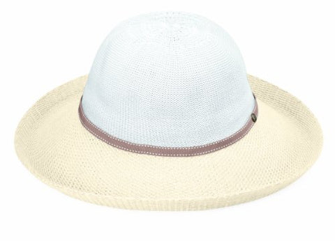 Wallaroo Hat Company Women's Victoria Two-Toned Sun Hat – White/Natural – UPF 50+, Packable, Lined, Modern Style, Designed in Australia.