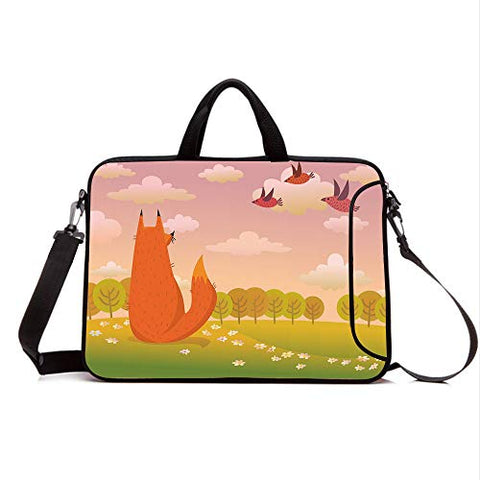 "17"" Neoprene Laptop Bag Sleeve with Handle,Adjustable Shoulder Strap & External Side Pocket,Cartoon,Animal Fox Wildlife in Valley Farm Sunset with Birds Flower Daisies Artwork,Orange Lilac Green"
