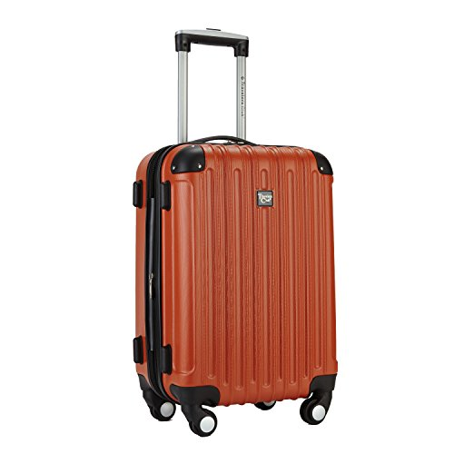 "Travelers Club 20"" Carry-On with TWO-IN-ONE Cup and Phone Convenience Pocket on Back of Luggage, Orange Color Option"