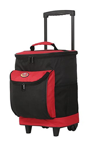 "16"" Cool Carry 2-Section Rolling Cooler with Thermal Insulation, Red Color Option"