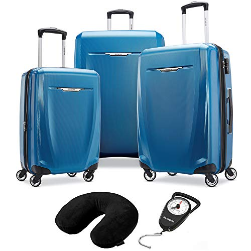 Samsonite Winfield 3 DLX 3 Piece Set Spinner 20/25/28 Blue (120751-1112) Manual Luggage Scale & Microbead Neck Pillow Black