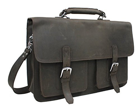 "Vagabond Traveler 20"" Super Extra Large Pro Leather Briefcase Laptop Bag. Heavy 7Lb Lb08.Db"