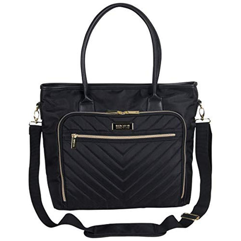 "Kenneth Cole Reaction Twill with Quilted Chevron 15"" Laptop Tote Black One Size"