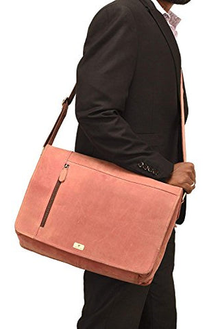Devil Hunter Leather Laptop Messenger Bag Vintage Briefcase Satchel for Men and Women- 16 Inch