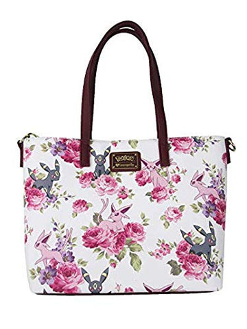 Loungefly Pokemon Espeon Umbreon Floral Tote Purse (One Size, White)