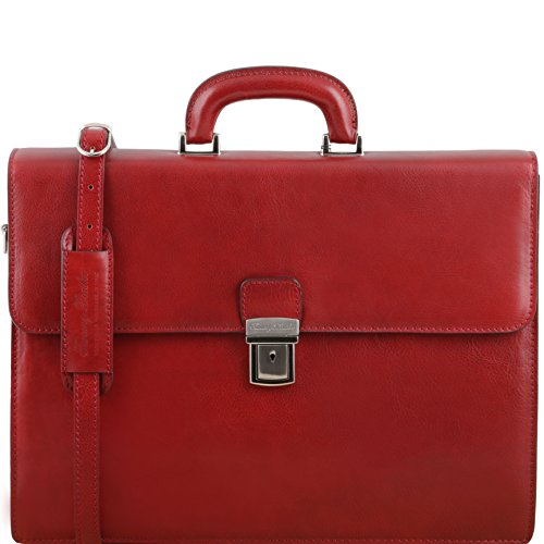 Tuscany Leather Parma Leather Briefcase 2 Compartments Red Leather Briefcases