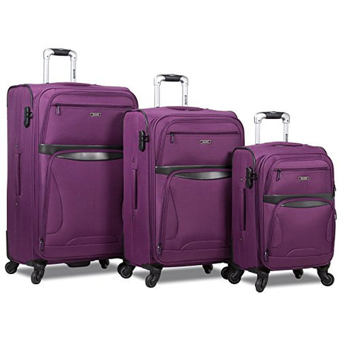 Rolite Explorer 3-Piece Expandable Spinner Luggage Set-Purple